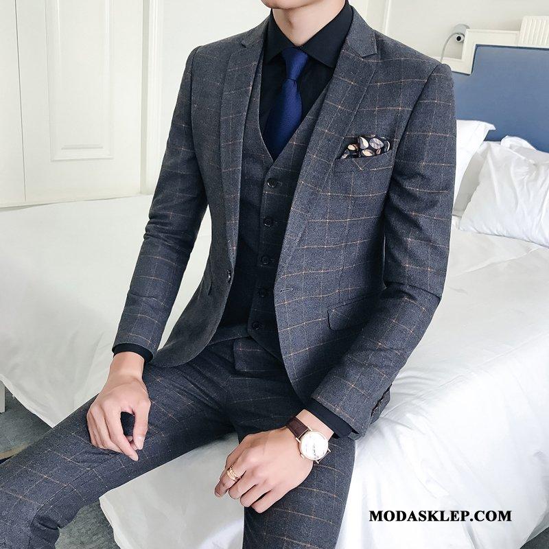 Męskie Garnitur Sprzedam Modna Marka Piękne Pokaz Eleganckie Pasować Szary Jasny