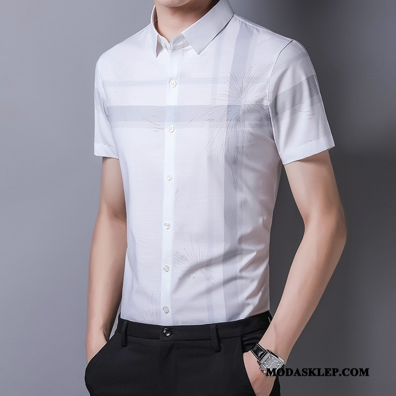 Męskie Koszula Kup Drukowana Nowy Męska Polo Tendencja Biały
