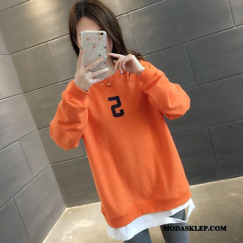 Damskie Bluza Z Kapturem Kupię Wiosna Szerokie Płaszcz 2019 Bluzy Z Kapturem Oranż Żółty