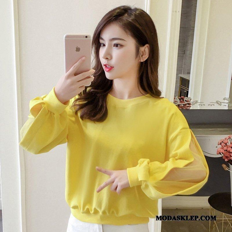 Damskie Bluza Z Kapturem Sklep Bluzy Z Kapturem Nowy Długi Rękaw 2019 Rękawy Czysta Żółty