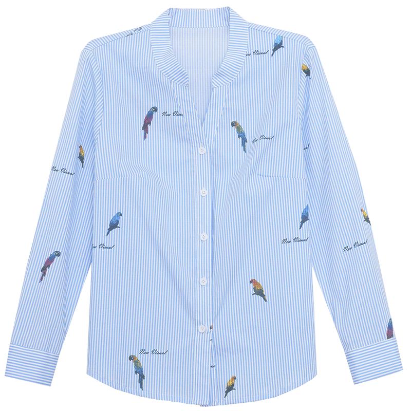 Damskie Bluzka Dyskont Długi Rękaw Koszula 2019 Damska Wiosna Niebieski Biały
