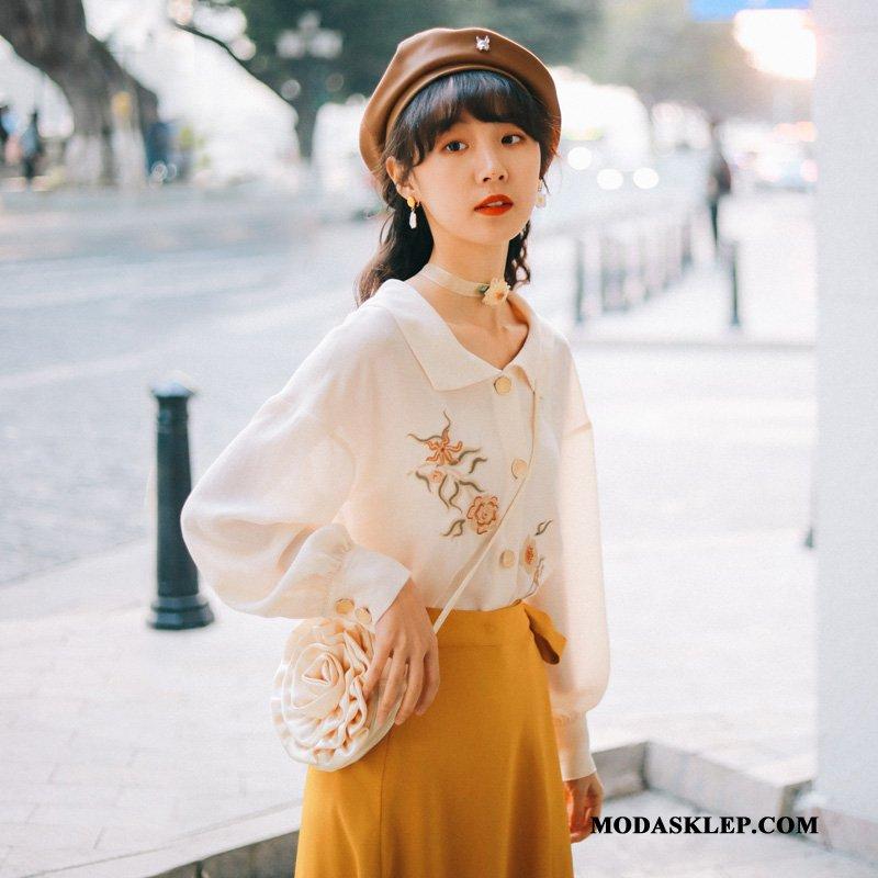 Damskie Bluzka Kup Koszula Vintage Damska Długi Rękaw Z Haftem Biały
