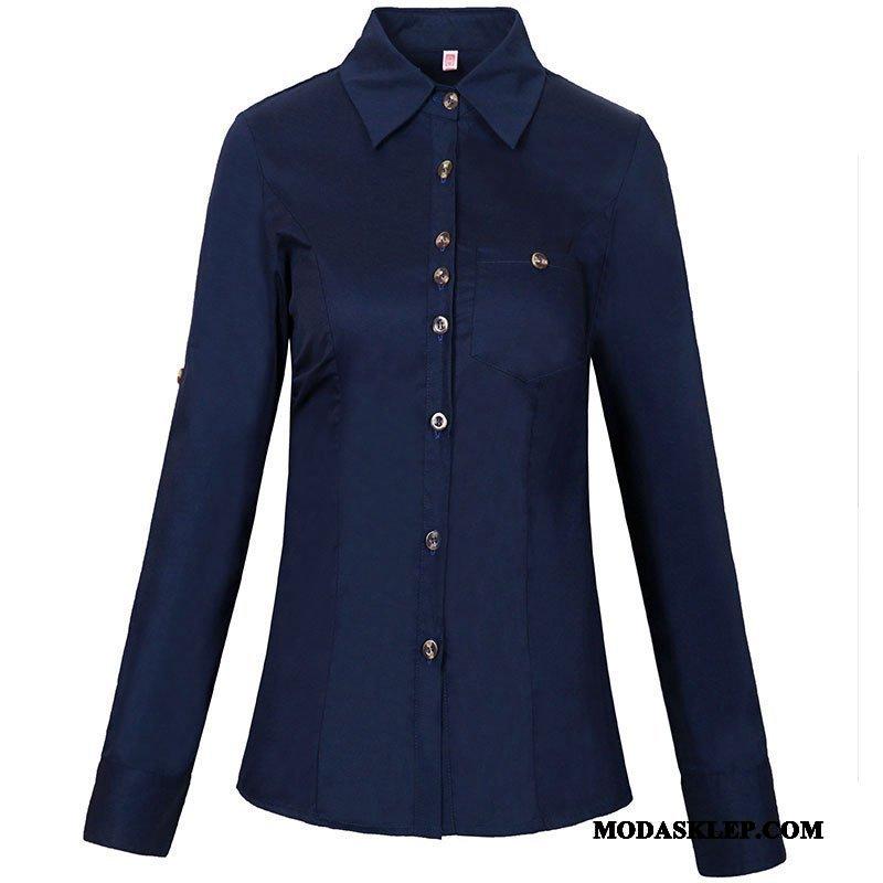 Damskie Bluzka Sprzedam Damska Eleganckie Mały Koszula Tendencja Niebieski Biały