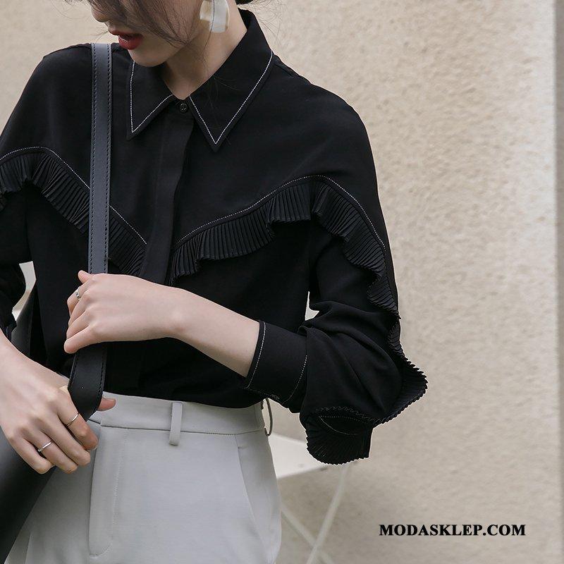 Damskie Bluzka Sprzedam Mały Damska Wiosna Koszula Vintage Czarny