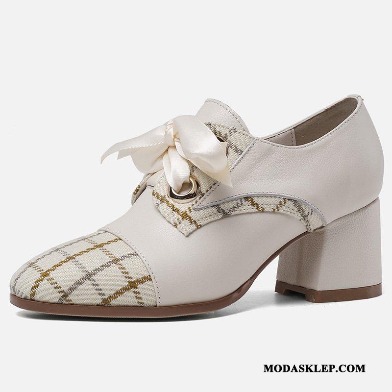 Damskie Buty Na Obcasie Kupię Vintage Loafers Damska Gruba Podeszwa Sznurowane Mieszane Kolory Beżowy Biały Ciemno