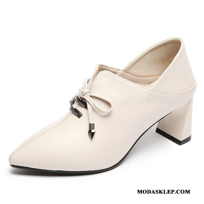 Damskie Buty Na Obcasie Sprzedam Sznurowane Jesień Wiosna Skórzane Buty Slip On Biały