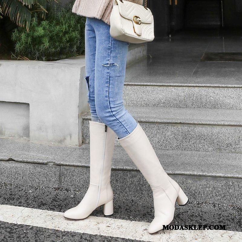 Damskie Czyścibut Dyskont Prawdziwa Skóra Botki Damska 2019 Elastyczne Beżowy Biały