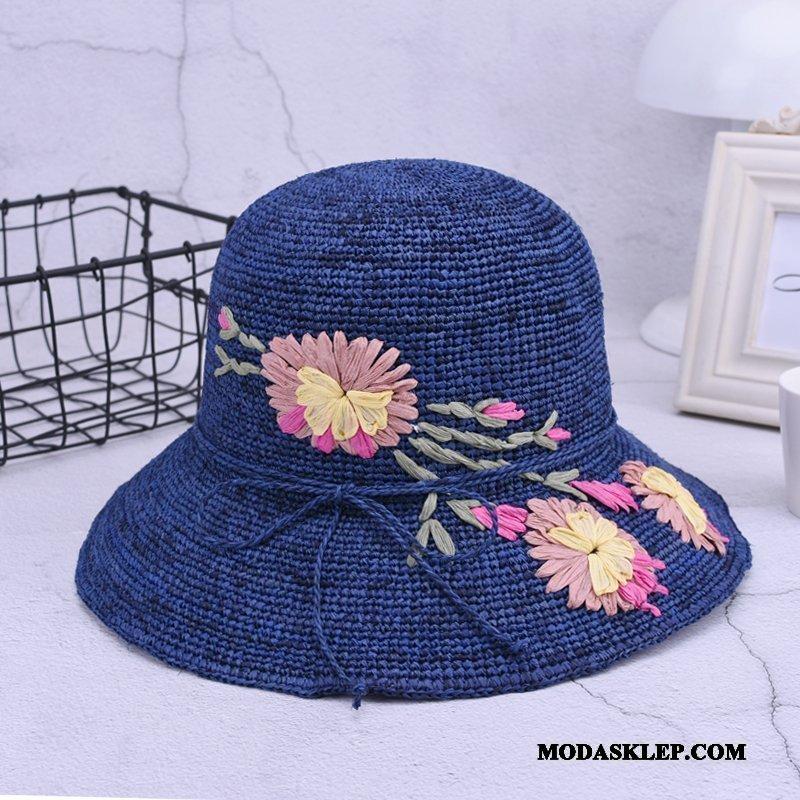 Damskie Kapelusz Oferta Vintage Kapelusz Rybacki Plażowe Kwiaty Słońce Niebieski