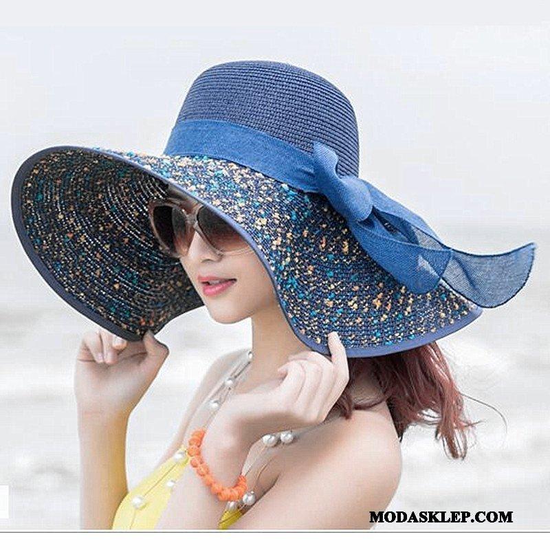 Damskie Kapelusz Sklep Podróż Lato Plażowe Ochrona Przed Słońcem Damska Niebieski