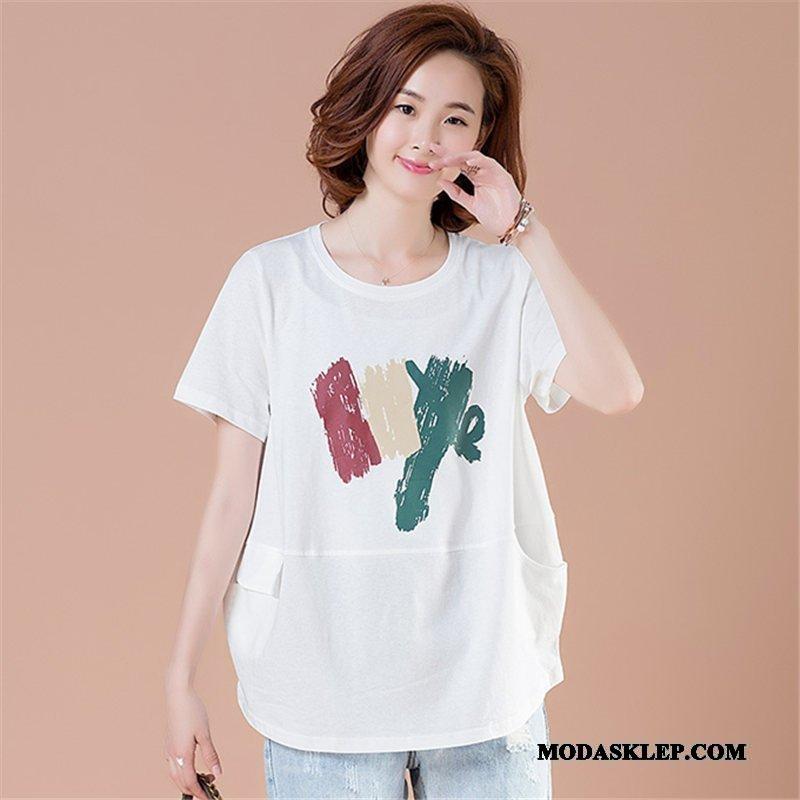 Damskie Koszulki Kup Szerokie Casual Cienkie Duży Rozmiar Krótki Rękaw Biały