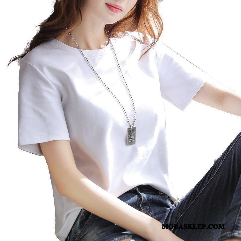 Damskie Koszulki Online Krótki Rękaw T-shirt 2019 Topy Tendencja Biały
