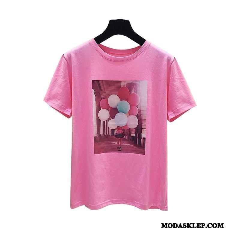 Damskie Koszulki Sklep Szerokie Bawełna Topy Nowy T-shirt Różowy Biały