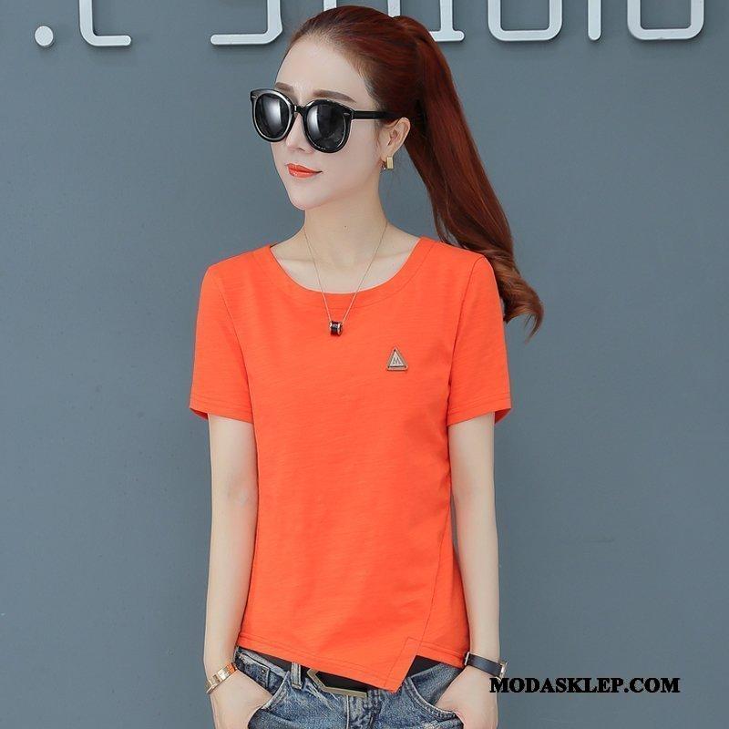 Damskie Koszulki Sprzedam Krótki Rękaw Mały 2019 Damska Nowy Oranż