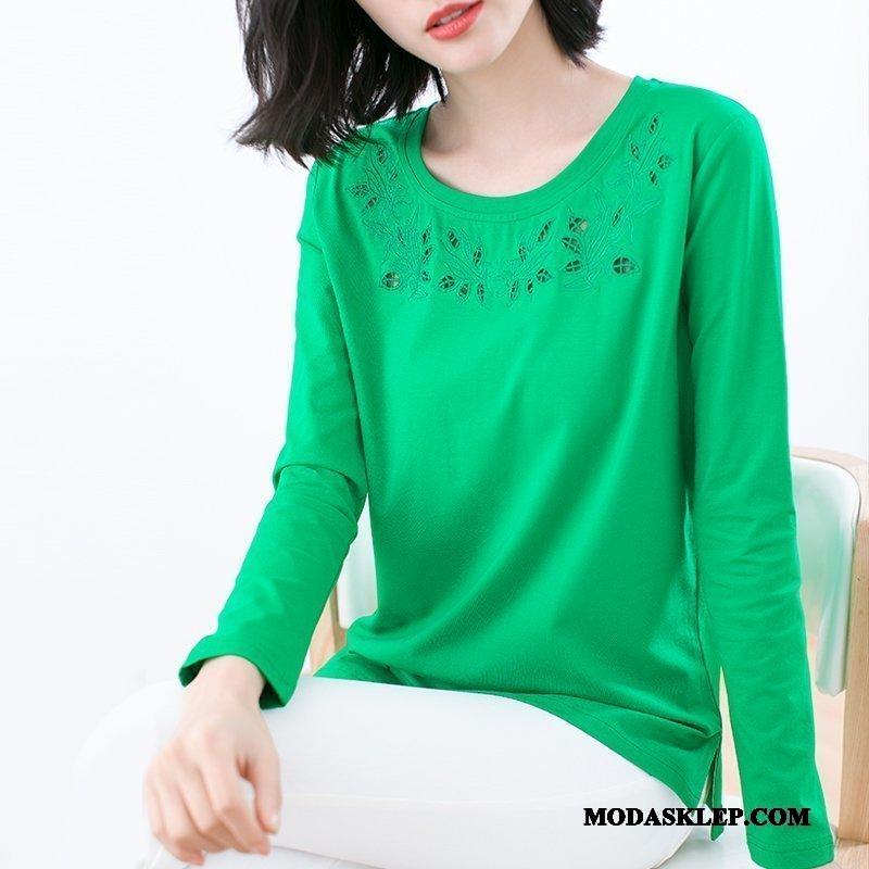 Damskie Koszulki Sprzedam T-shirt Z Długim Rękawem Topy Bawełna 2019 Haftowana Zielony