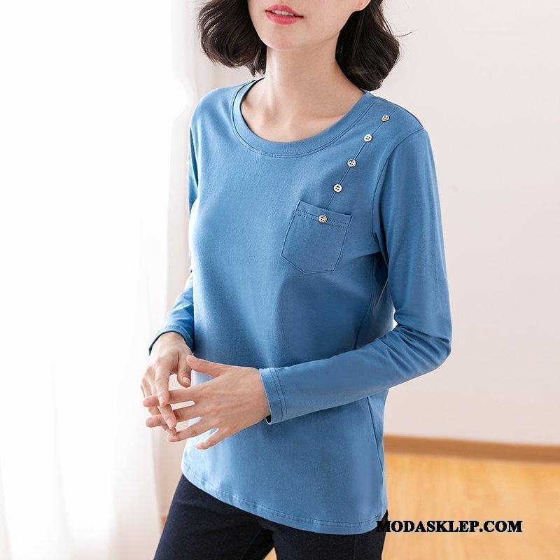 Damskie Koszulki Sprzedam Wiosna T-shirt Z Długim Rękawem 2019 Dla Otyłych Podkoszulek Niebieski Szary