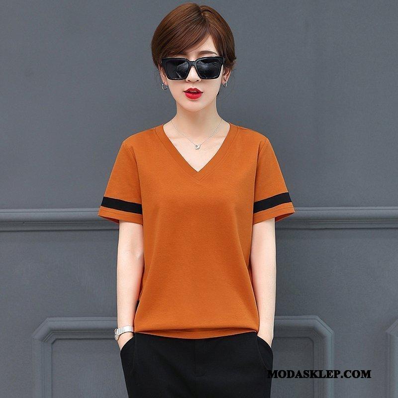 Damskie Koszulki Tanie Cienkie Z Bawełny Lato Nowy Duży Rozmiar Czysta Oranż