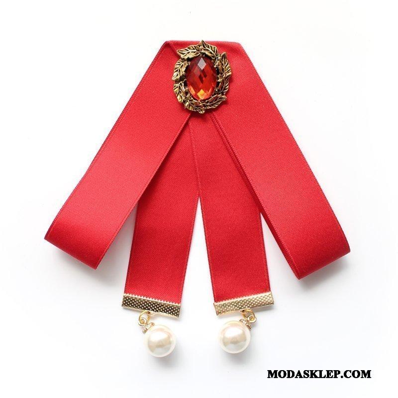 Damskie Muszka Sklep Damska Dekoracja Kołnierz Kwiatowy Stewardesa Koszula Srebrny Czerwony