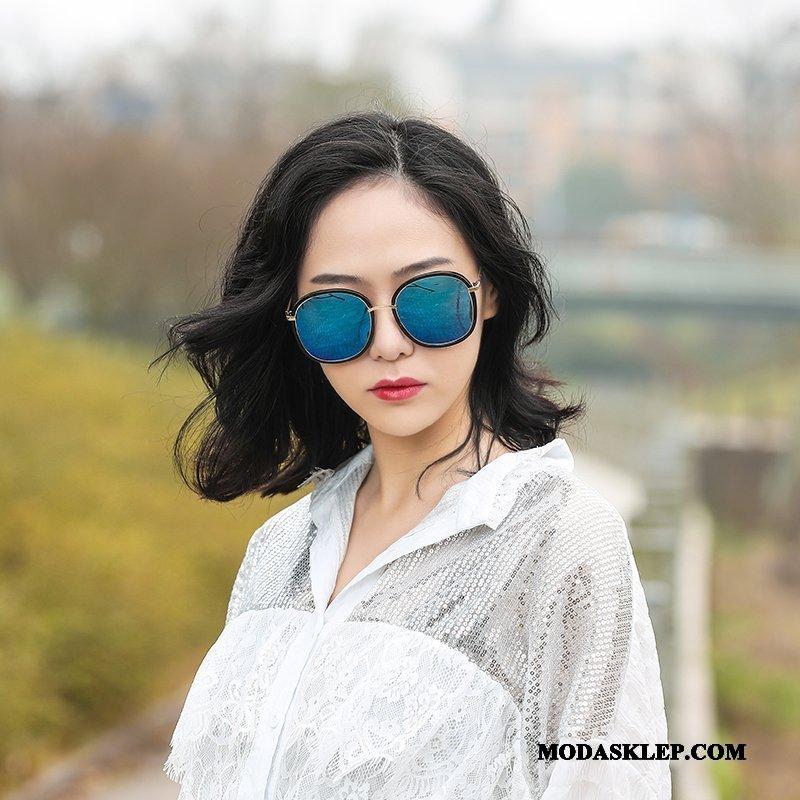 Damskie Okulary Przeciwsłoneczne Tanie 2019 Damska Vintage Siatkowe Okrągła Twarz Niebieski Fioletowy Czerwony