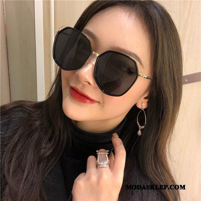 Damskie Okulary Przeciwsłoneczne Tanie Polaryzator Męska 2019 Damska Wielki Fioletowy Czarny