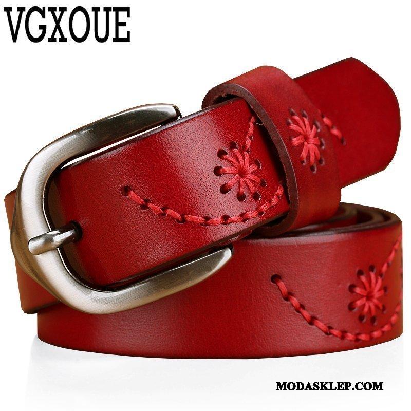 Damskie Paski Kup Trendy Damska Casual Moda Prawdziwa Skóra Czerwony