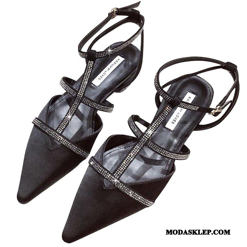 Damskie Sandały Sklep Rhinestone Szpiczaste Dobrze Damska Płaskie Czarny