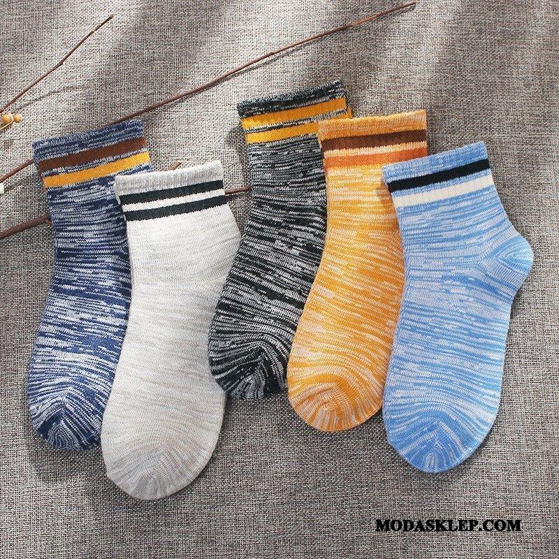 Damskie Skarpetki Oferta Środkowy Zima Jesień Vintage Bawełniane Skarpetki Niebieski