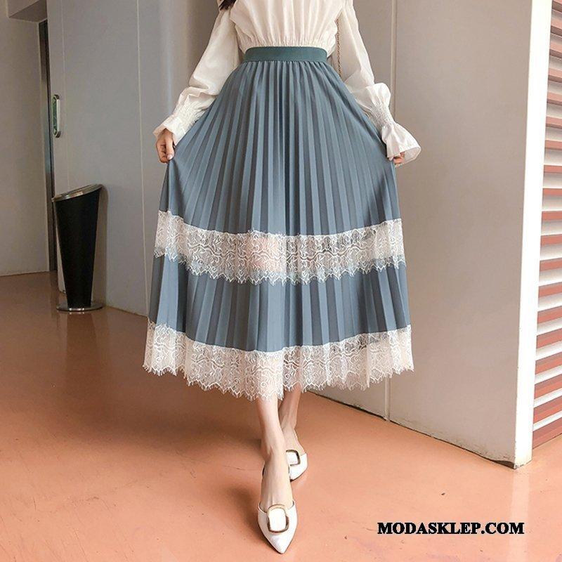 Damskie Spódnica Sklep 2019 Moda Koronkowe Szycie Długie Niebieski