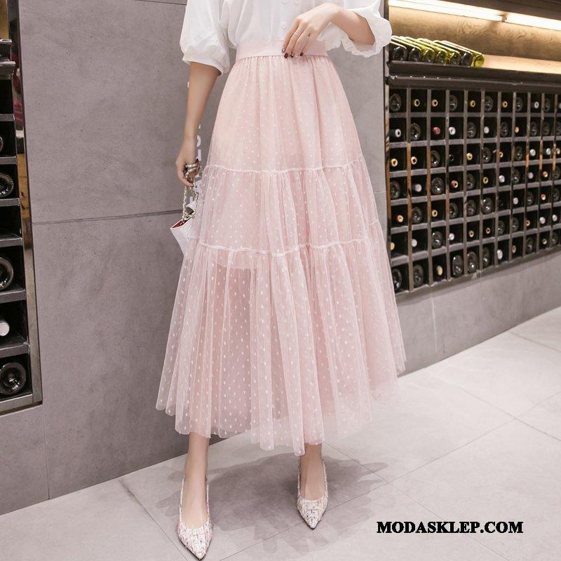 Damskie Spódnica Sprzedam Suknia Gazy Wysoki Stan Slim Fit Nowy Różowy