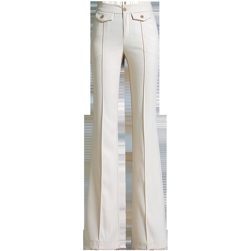 Damskie Spodnie Na Sprzedaż Duży Rozmiar Wysoki Stan Nowy 2019 Proste Beżowy Biały