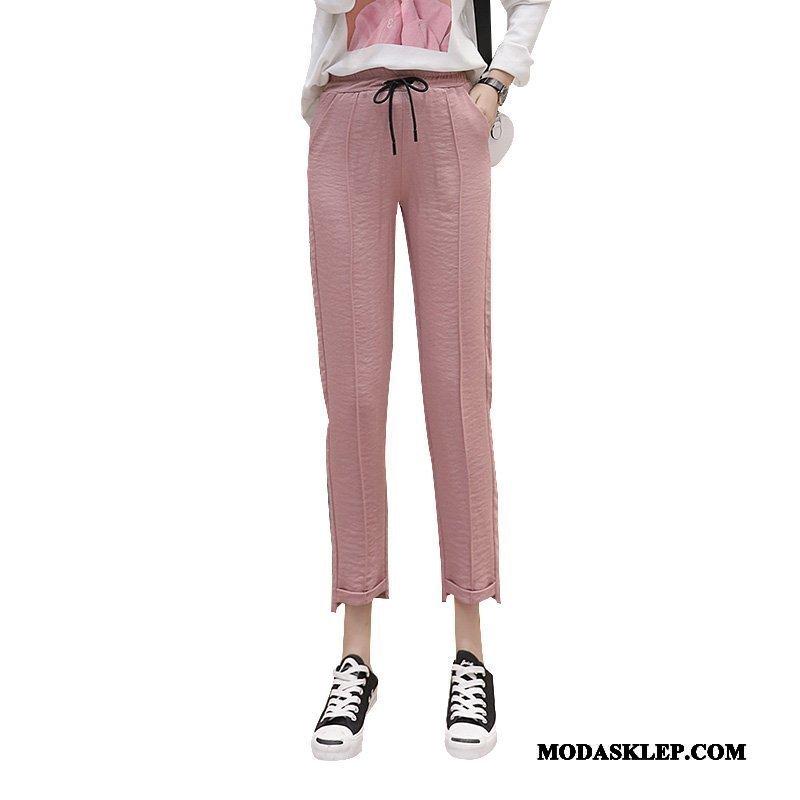 Damskie Spodnie Online Wiosna Slim Fit 2019 Casual Cienkie Różowy