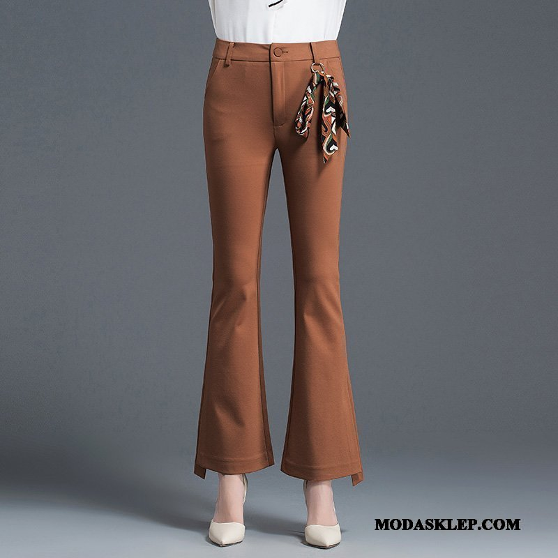 Damskie Spodnie Sprzedam Casualowe Spodnie Nowy Wysoki Stan Elastyczne 2019 Karmel