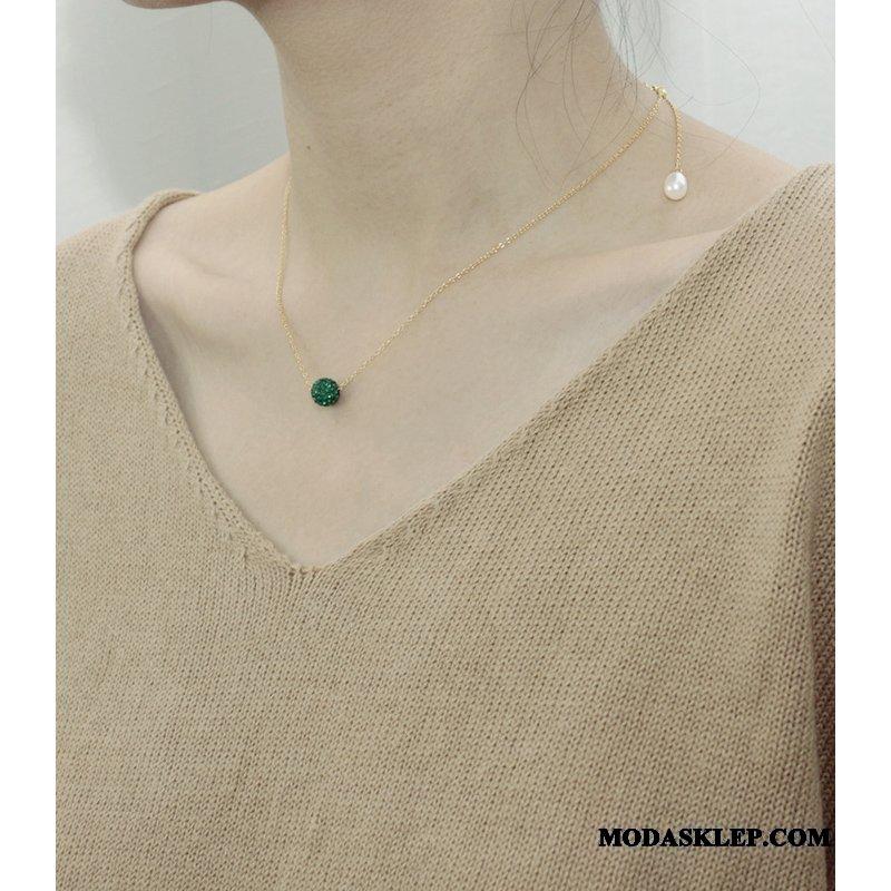 Damskie Srebrna Biżuteria Sklep Nastawny Damska Perła Pure Kryształ Srebrny Zielony