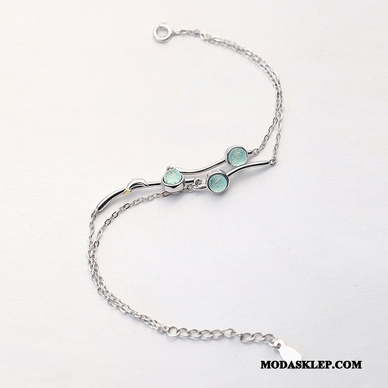 Damskie Srebrna Biżuteria Tanie Pure Bransoletki Trendy Damska Akcesoria Niebieski Srebrny