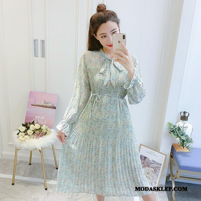 Damskie Sukienka Kup Sznurowane Moda Ciasno W Talii Wiosna Kwiatowa Zielony