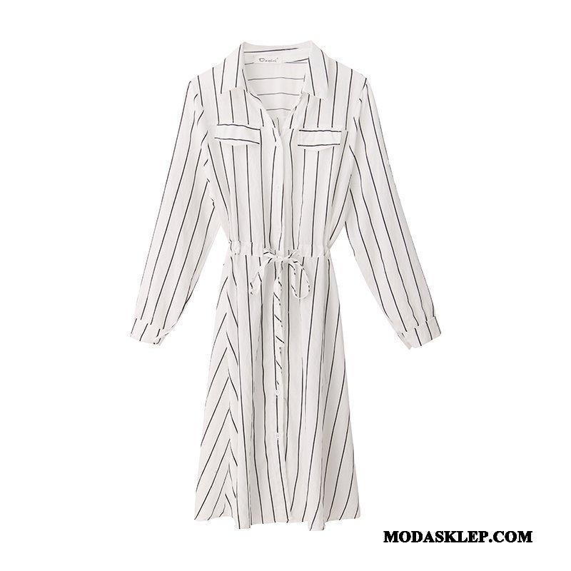 Damskie Sukienka Kupię W Paski Nowy Student Moda Bluzka Biały