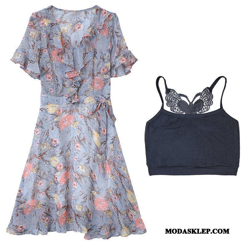 Damskie Sukienka Sklep Damska Tendencja Kwiatowa Nowy Krótki Rękaw Niebieski