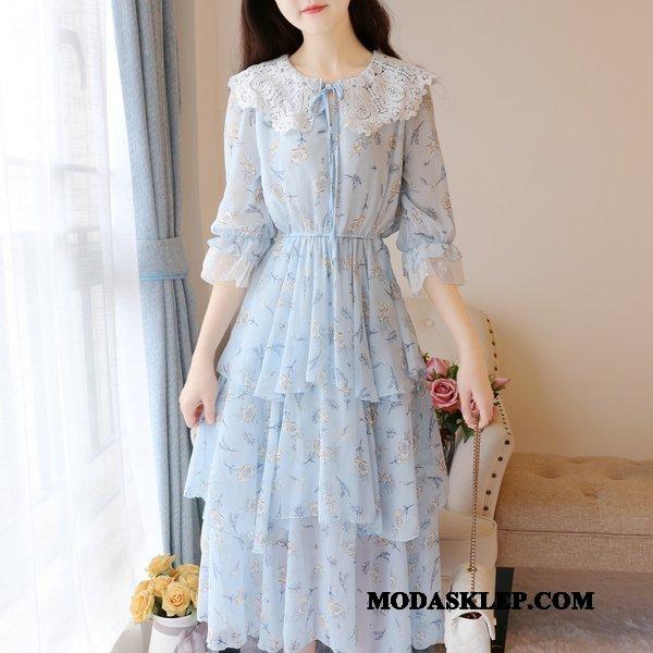 Damskie Sukienka Sprzedam Szyfon Świeży Długie Słodkie Lato Niebieski