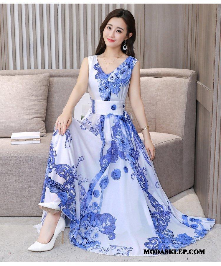Damskie Sukienka Tanie Nowy Drukowana Szyfon Moda Wiosna Biały