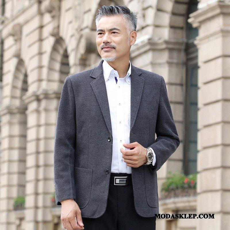 Męskie Blazer Na Sprzedaż W Średnim Wieku Topy Płaszcz Jesień Duży Rozmiar Czysta Szary