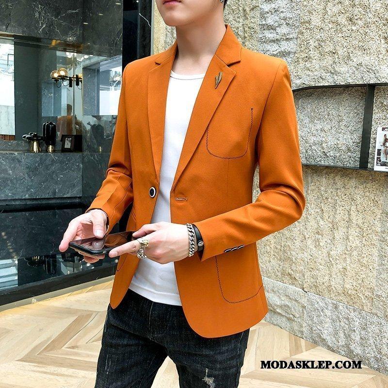 Męskie Blazer Oferta Garnitur Tendencja Casual Blezer Piękny Pomarańczowy