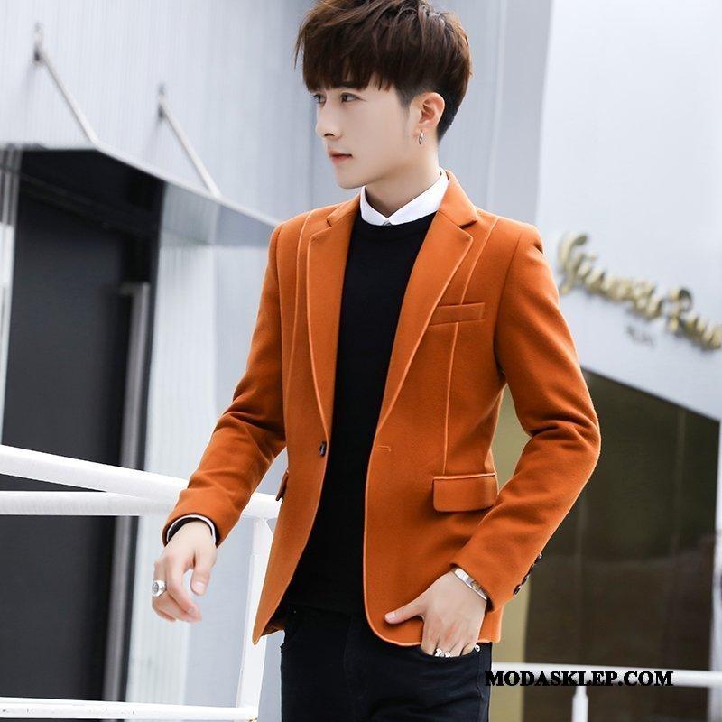 Męskie Blazer Online Slim Fit Casual Tendencja Płaszcz Piękny Pomarańczowy