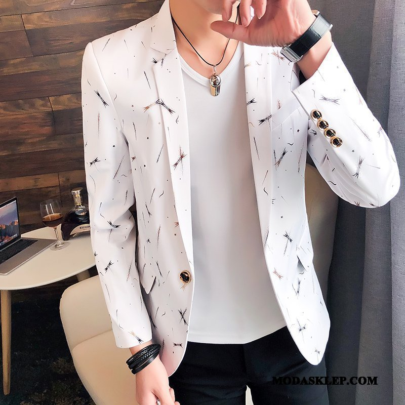 Męskie Blazer Sklep Piękny Garnitur Drukowana Topy 2019 Biały