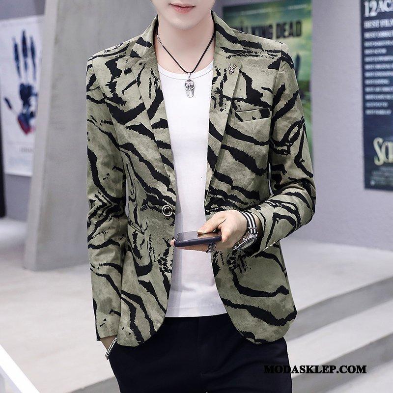 Męskie Blazer Sprzedam Slim Fit Tendencja Płaszcz Topy Nowy Kamuflaż Zielony