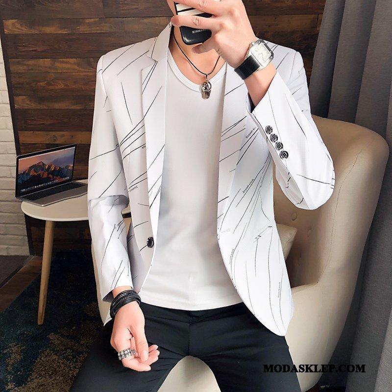 Męskie Blazer Sprzedam Wiosna Męska Blezer Slim Fit Piękny Biały