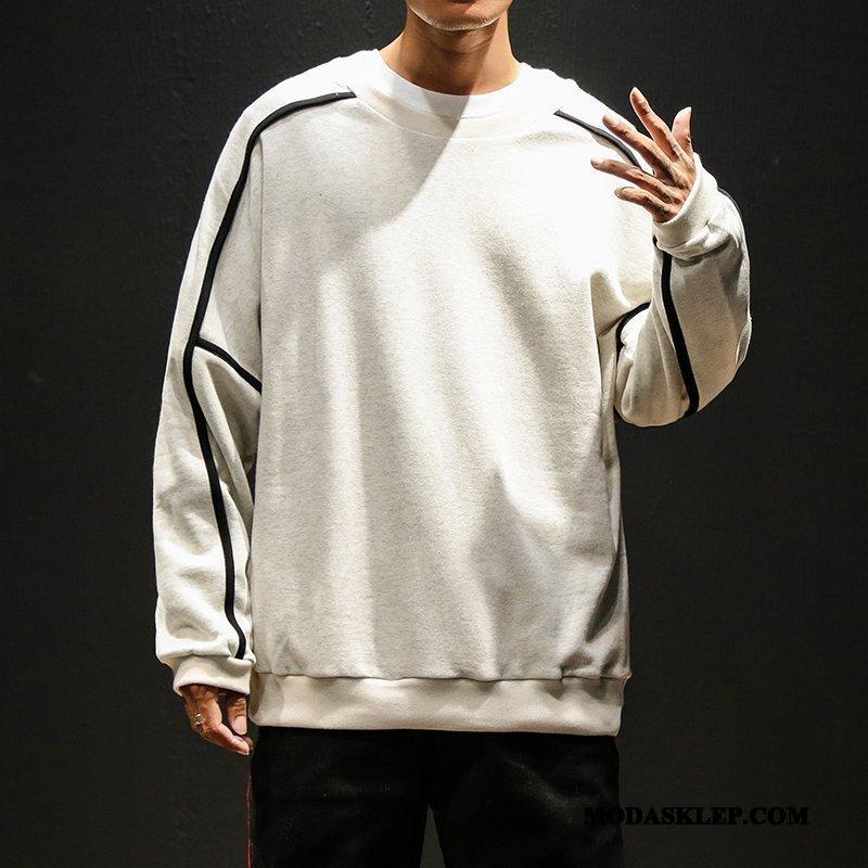 Męskie Bluza Z Kapturem Oferta Bluzy Z Kapturem Okrągły Dekolt Męska Pullover Jesień Biały