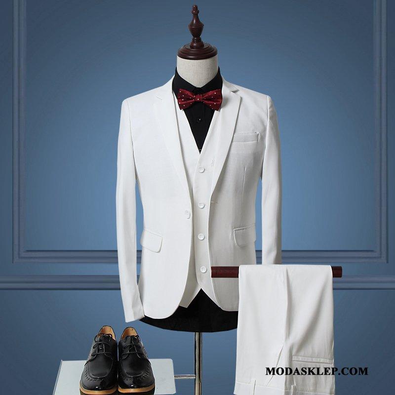 Męskie Garnitur Dyskont Ślubna Męska Biznes Casual Biurowe Biały