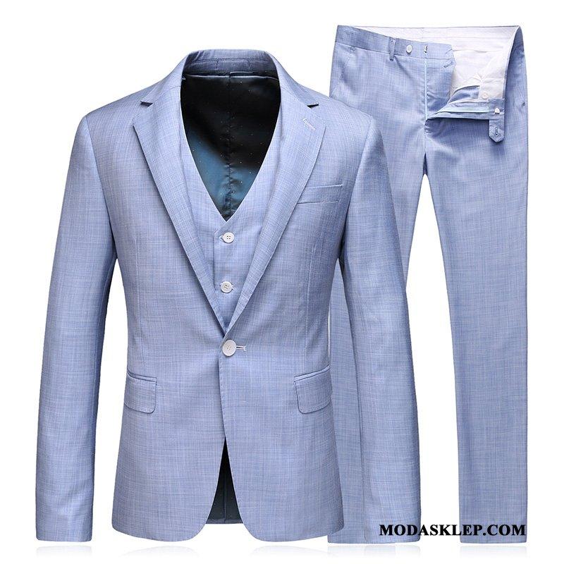 Męskie Garnitur Kup Pasować Ślubna Piękny Duży Rozmiar Męska Jasny Niebieski Biały