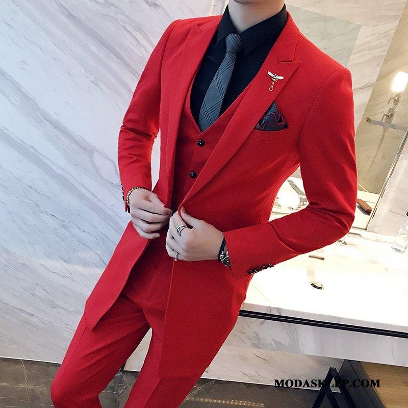 Męskie Garnitur Sklep Pasować Duży Rozmiar Sukienka Męska Jesień Czerwony