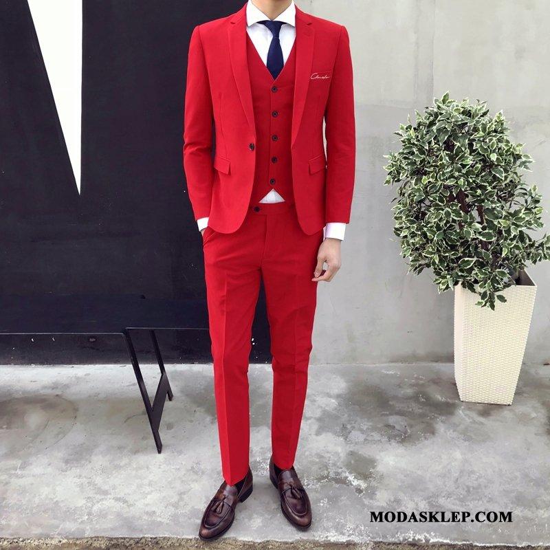 Męskie Garnitur Sprzedam Piękny Pasować Męska Modna Marka Biurowe Jasny Czerwony