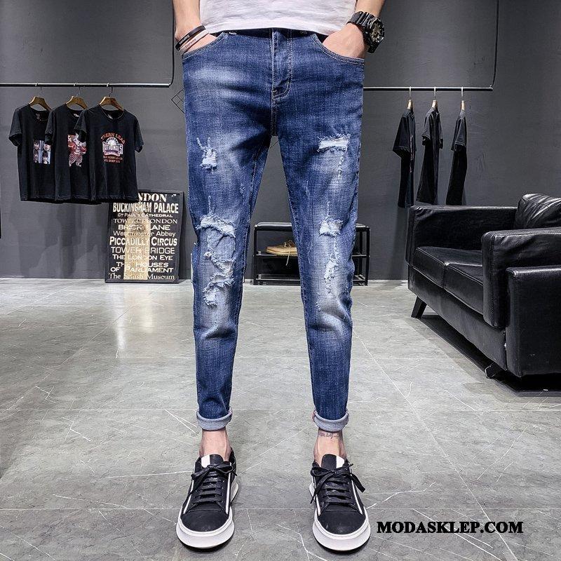 Męskie Jeansy Kupię Dżinsy Spodnie Slim Fit Z Dziurami Mały Niebieski